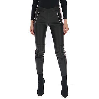 Alexander Mcqueen 585024q5aa81002 Mujeres's Pantalones de Cuero Negro