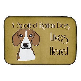 Carolines Treasures BB1487DDM Beagle pilaantunut koira asuu täällä lautasen kuivaus matto