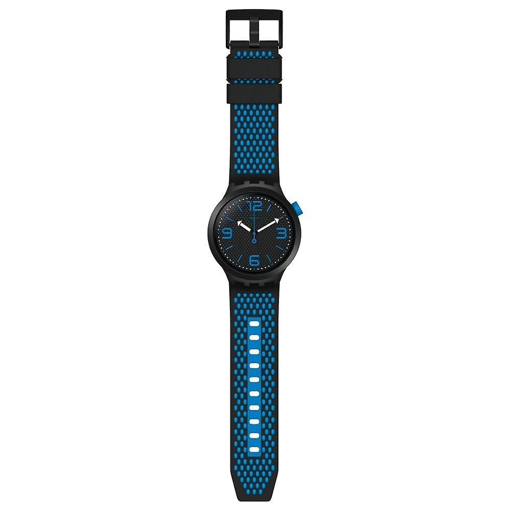 Swatch So27b101 Big Bold Bbblue Black & Blue Silicone Watch