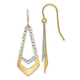 10k Two-Tone Polished Gold Sparkle-Cut Shepherd Hook Dangle Earrings - 1.2 Grams