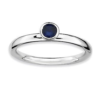 925 Sterling Silver Bezel Polished Stackable Expressions High 4mm Round Cr. Sapphire Ring Jewelry Gifts for Women - Ring