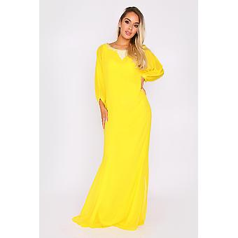 Kaftan eliana long sleeve embroidered neckline full-length maxi evening dress in yellow