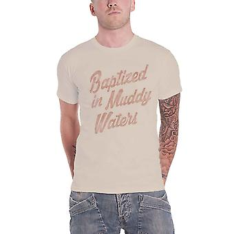 Muddy Waters T Shirt Baptized Logo new Official Mens Sand
