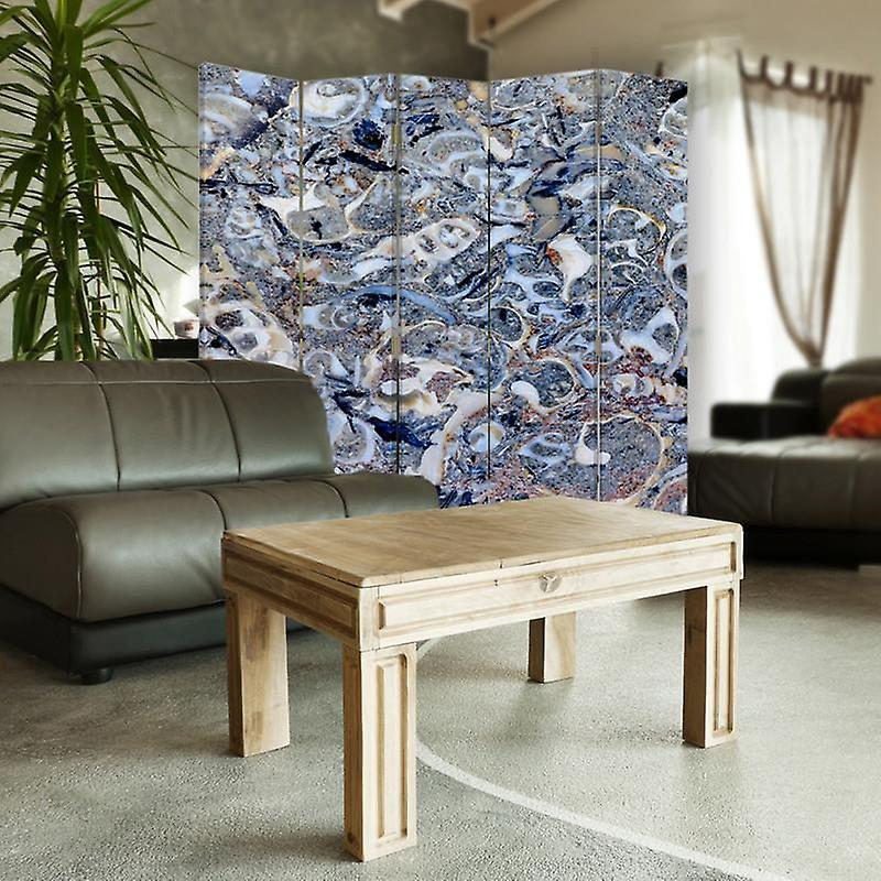 Diviseur de chambre, 5 panneaux, toile, mosaïque de marbre