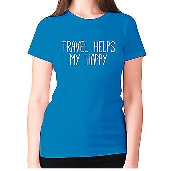 Womens funny t-shirt slogan tee sarcasm ladies sarcastic - Travel helps my happy