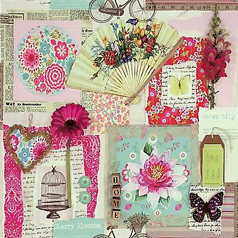 Scrapbook Collage Wallpaper Floral Butterfly Vintage Images Decoupage Arthouse