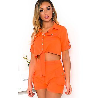 IKRUSH Womens Launie Cargo Shirt and Shorts Co-Ord