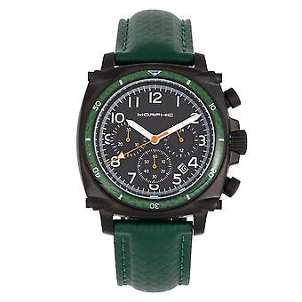Morphic M83 Series Chronograph Leather-Band Watch w/ Date - Black/Green