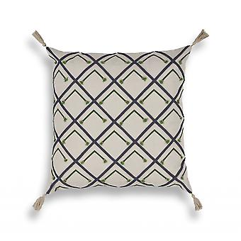Elegant square Blue and Green Beaded Accent Pillow