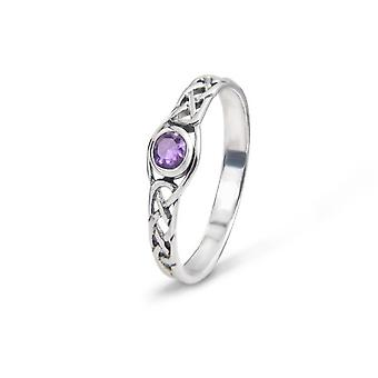 Celtic Eternity Knotwork Ring - Amethyst Colour Stone
