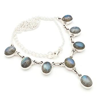 Labradorite Necklace 925 Sterling Silver Necklace Necklace Blue Green (MCO 05-05)