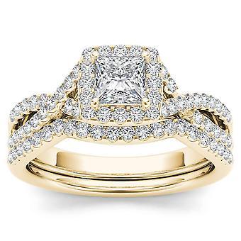 Igi certificato 14k oro giallo 1 ct principessa taglio diamante halo fidanzamento anello