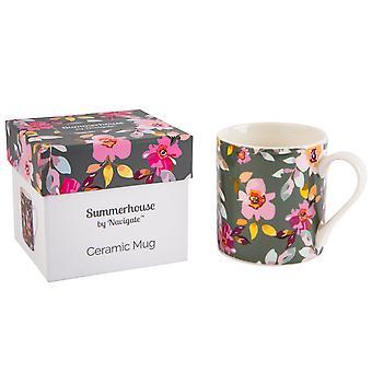 Navigate Gardenia Mug, Grey Floral