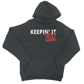 365 Stampa Keepin' E 100 donne grigio scuro pullover felpa con cappuccio regalo per ragazze adolescenti