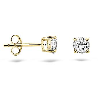 Earrings Blush 71279YZI - Yellow gold and zirconium oxide 4 mm set claw
