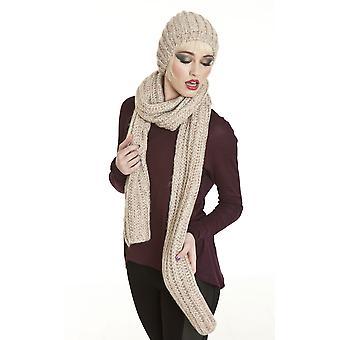 Ladies Sequin Knit Fashion Winter Beanie Hat & Scarf Set Pink-Multi