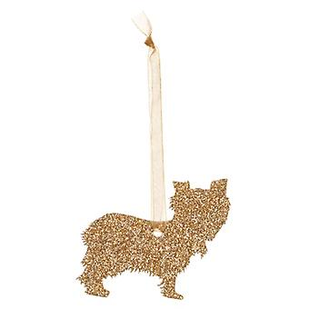 Gold Yorkshire Terrier Style 6 Glitter  Christmas Decoration