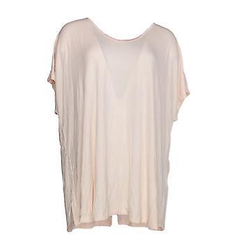 H par Halston Women-apos;s Plus Top U-Neck Extended Shoulder Tunic Pink A306069