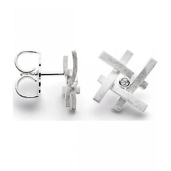bastian inverun - 925/- silver studs scratch matt, diamond 0.020ct - 24440