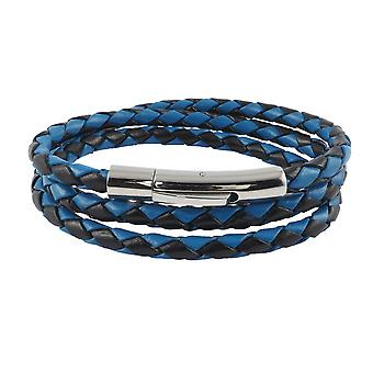 Cordon en cuir en cuir 6 mm collier homme noir / bleu 17-100 cm de long avec le levier imprimé cuir cuir argent tressé