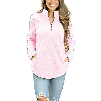 Alelly Women-apos;s Zipper Sherpa Pullover Soft Fuzzy Fleece, Rose, Taille Petite