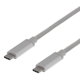 Cablu USB-C DELTACO USB-C USB 3.1 Gen 2 10Gbps 60W SILVER