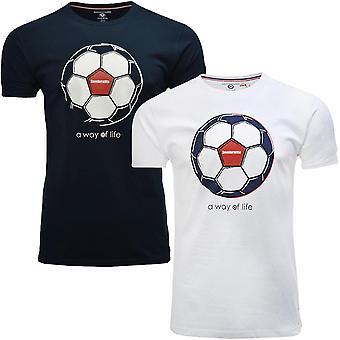 Lambretta Mens Football Cotton Short Sleeve Crew Neck T-Shirt Top Tee