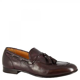 Men's handmade tassel loafers shoes in chocolate goat leather