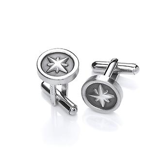 David Deyong Stainless Steel Compass Rose Cufflinks