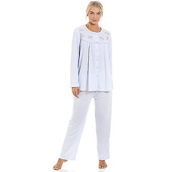 Камиль женский классический светло синий длинные полная длина Пижамная набор