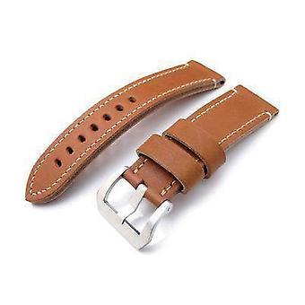 Strapcode couro pulseira de relógio 24mm miltat cashmere bezerro cor cor pulseira, pontos de mão bege