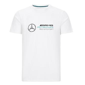 Mercedes AMG Petronas Menn's Stor Logo T-skjorte | Hvit | 2020