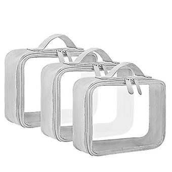 TSA وافق حقيبة المرحاض مع حزام مقبض، ANRUI واضحة، رمادي، حجم لا حجم