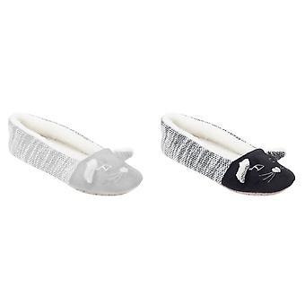 Slumberzzz Womens/Ladies Two Tone Cat Ballet Slippers