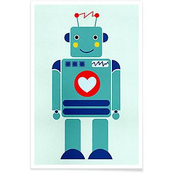 JUNIQE Print - Robot with a Heart - Nursery & Art for Kids Poster in Colorful