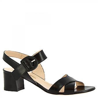 Leonardo Shoes Women-apos;s handmade mid heels sandales fermeture boucle en cuir noir