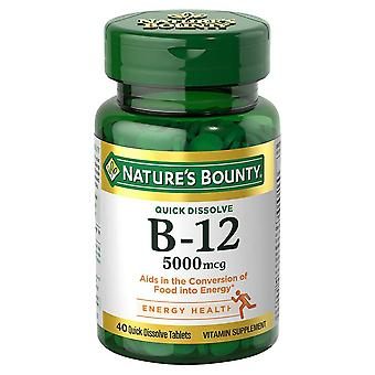Nature's bounty b-12, 5000 mcg, quick dissolve tablets, cherry, 40 ea