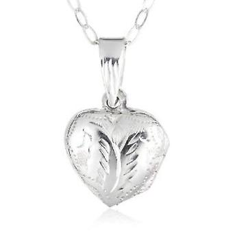 Jo For Girls Sterling Silver Engraved Puffed Heart Locket Necklace 14