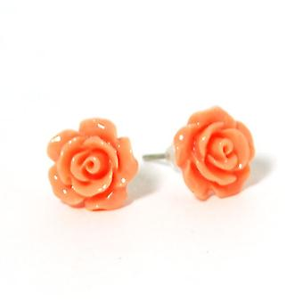 The Olivia Collection Smell The Roses Orange Rose Stud Earrings