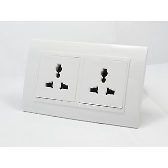 I LumoS AS Luxury White Plastic Arc Unswitched 3 Pin Multi Plug Double Socket