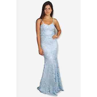 Julia bustier δαντέλα λεπτομέρεια τρομπέτα φόρεμα