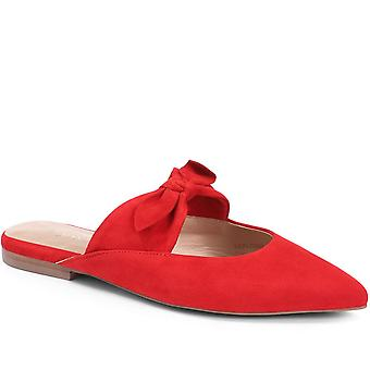 Jones 24-7 Womens Pointed Flat Leather Mules