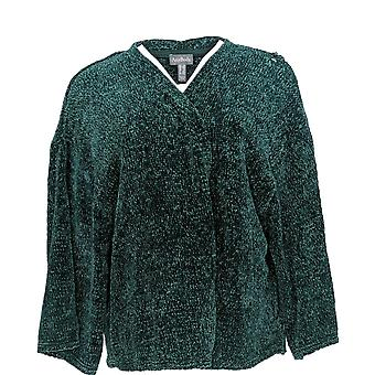 Anybody Women's Plus Chenille Cropped Cardigan Green A345313