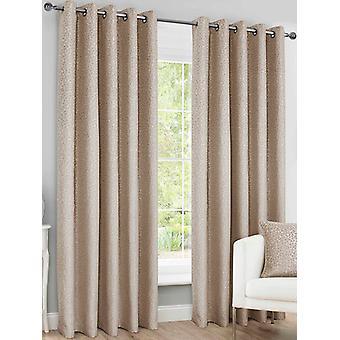 Belle Maison Lined Eyelet Curtains, Sahara Range, 66x90 Natural