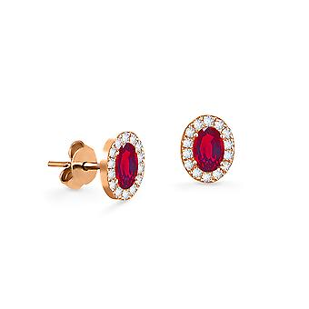 Earrings Princess 18K Gold and Diamonds with Ruby | Emerald | Sapphire - Rose Gold, Ruby