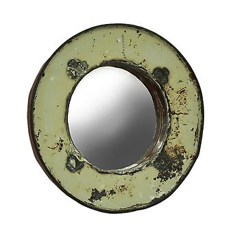 23 Inch Diameter Recycled Steel Oil Drum Wall Mirror