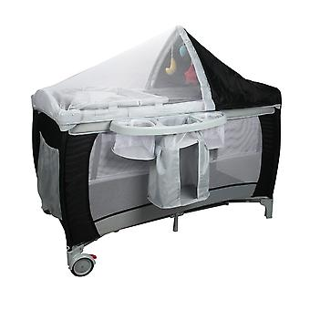 Baby Child Playpen Travel Cot Bed Play Pen Infant Bassinet Safety Playpen Black