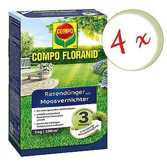 Disperso: 4 x COMPO Floranid® fertilizante de césped con matas de musgo, 3 kg
