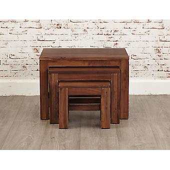 Mayan Walnut Nest of 3 Coffee Tables Brown - Baumhaus