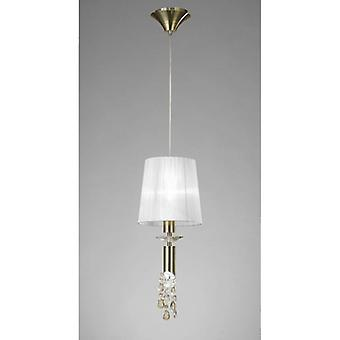 Tiffany Pendant Lamp 1 + 1 E27 + G9 Bulb, Antique Brass With White Lampshade & Transparent Crystal